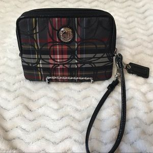 Coach red and black plaid wristlet